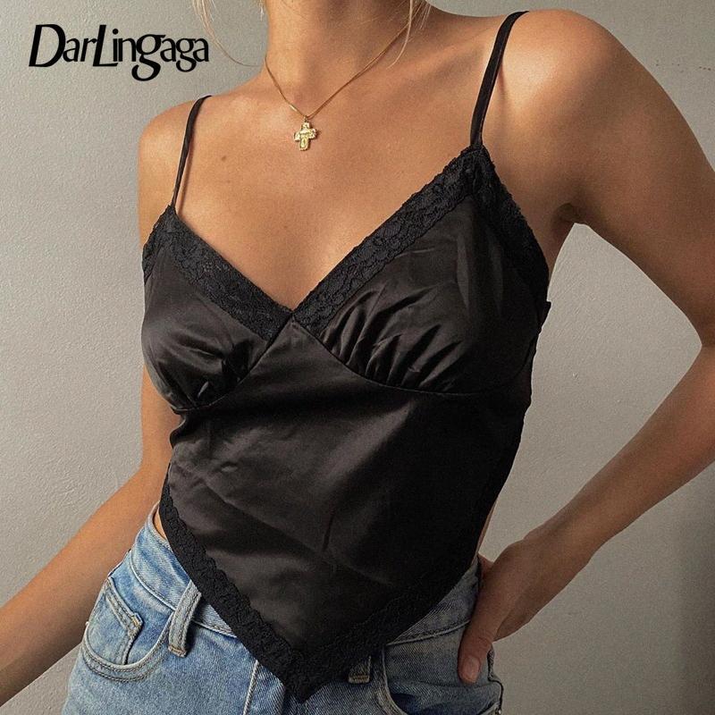 Darlingaga Fashion Satin Spitze Patchwork Schwarz Crop Top Cami Women Strap Backless V-Ausschnitt Sexy Top Sleeveless Partei-Sommer-T Yjks #