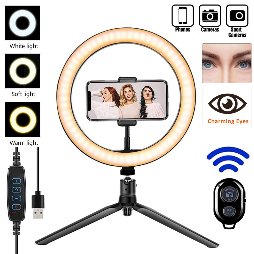Profissional Fotografia Luz Anel com tripé Regulável Iluminação Camera Phone composição Photo Anel Lamp YouTube TikTok