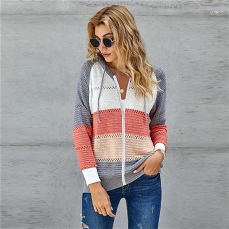 Artı boyutu Kazak Kapşonlu Sweatshirt Tasarımcı Casual Uzun Kollu Coats Kadınlar Colorblocked Örme Triko Kapüşonlular Moda Trend Gevşek İnce