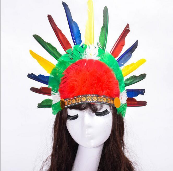 Tag der Kinder verkleiden COS Farben Feder-Kopfschmuck Indischer Kopfschmuck Indisches Emirat Hut G569