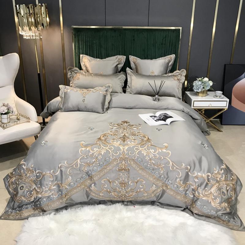 Bordado do ouro casamento conjuntos de cama de algodão de seda cor sólida Princesa capa de edredão Folha de Lençois fronha de prata cinza jogos de cama