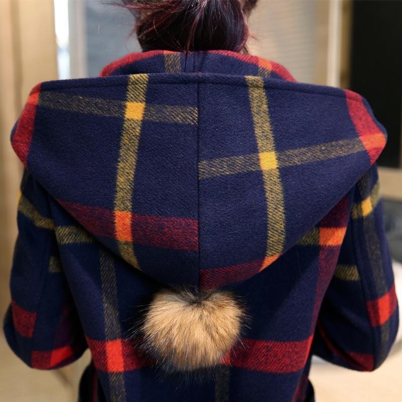 U9DHh outono e bola nova camada de manta de lã de comprimento médio casaco de lã lã bola de inverno com capuz de lã Britishstyle para as mulheres