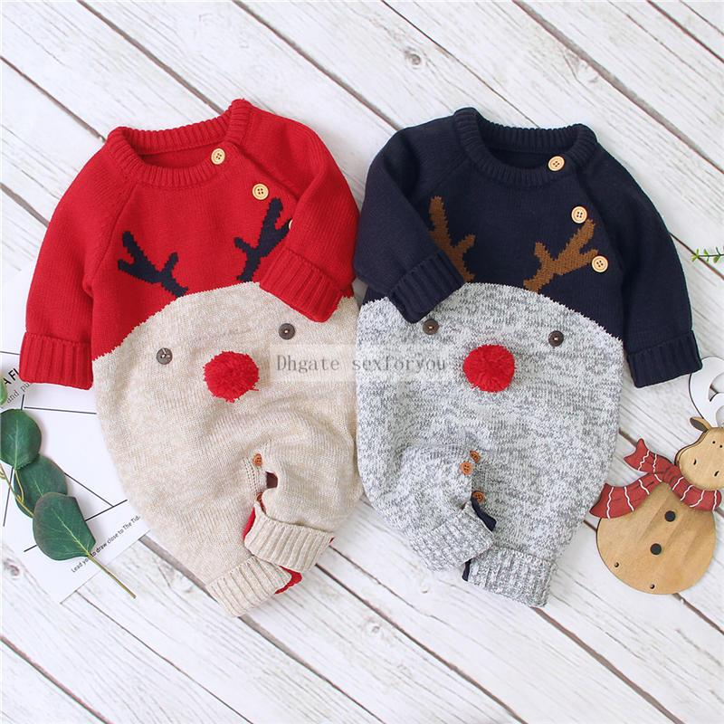 Baby Girls Boys Christmas Rompers Knitted Jumpsuits Toddler Girls New Year's Costume Children Warm Wool Clothes