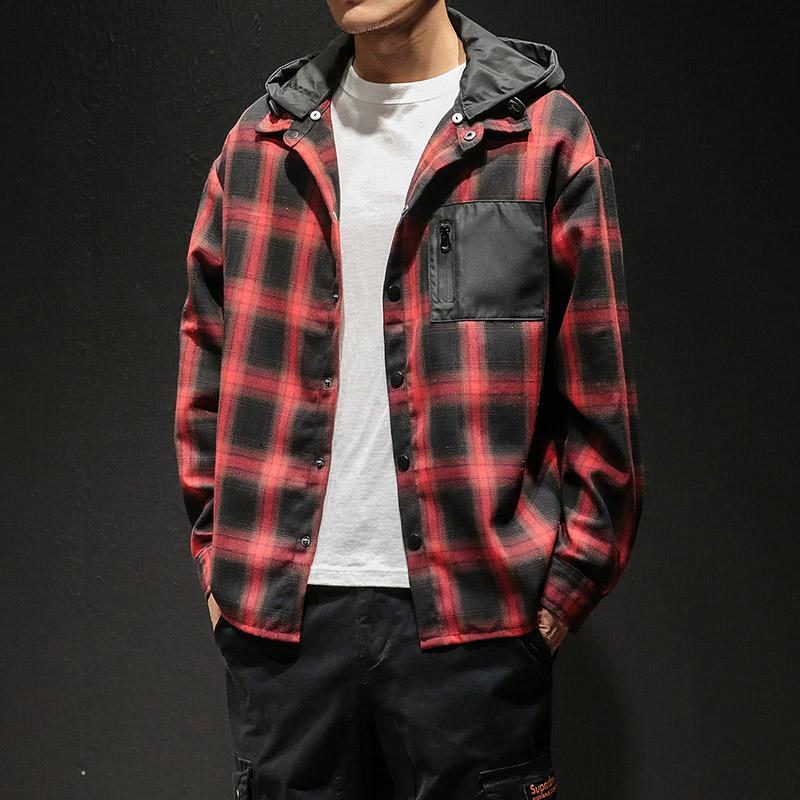 Korea-Art-beiläufige Strickjacke 2020 Frühling und Herbst-Rock-Punk Hoodie Plaid Shirt Herren Fleece Hip Hop Street Kleidung