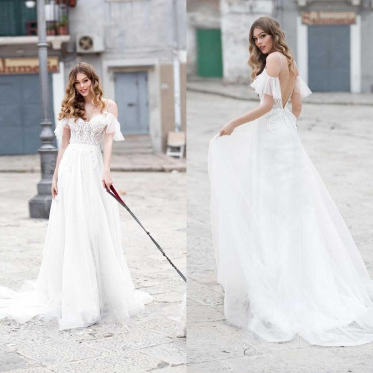 Naviblue 2021 Свадебные платья с плеча кружева аппликациями Свадебные платья сшитое Sexy Открыть Назад Sweep Поезд A-Line свадебное платье