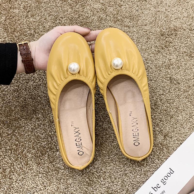 2020 Весна Лето женщин Тапочки Pu Кожа Слайды Женщина Обувь рреал Слиппер Слип на дам Повседневная обувь Zapatos Mujer 7992R