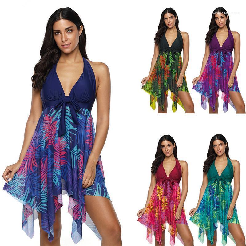 Multi color atractivo del traje de baño de secado rápido Ajustada cuello en V ropa femenina más el tamaño delgado de la impresión del verano del traje de baño