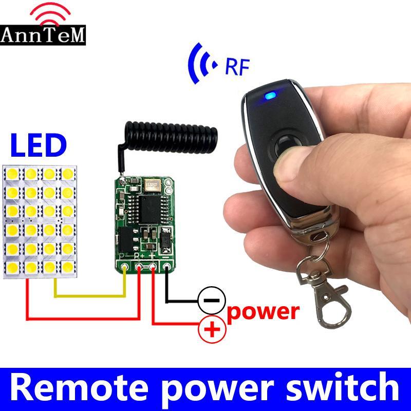 interruptor de controle remoto sem fio Mini pequena RF 433MHz transmissor receptor 3.7v 5v 6v 9v 12 Battery circuito de potência micro controlador