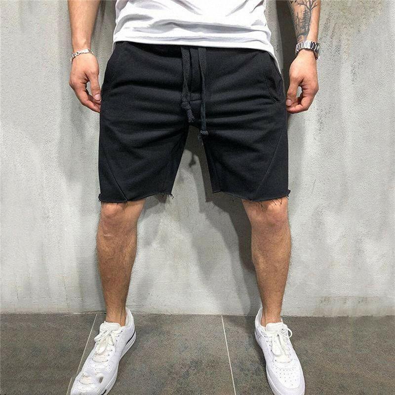 Hombres gimnasio de fitness pantalones cortos ocasionales de los deportes entrenamiento jogging sudor bragas de los hombres de Soild del color de moda de la venta corta Pantalones caliente o1oW #
