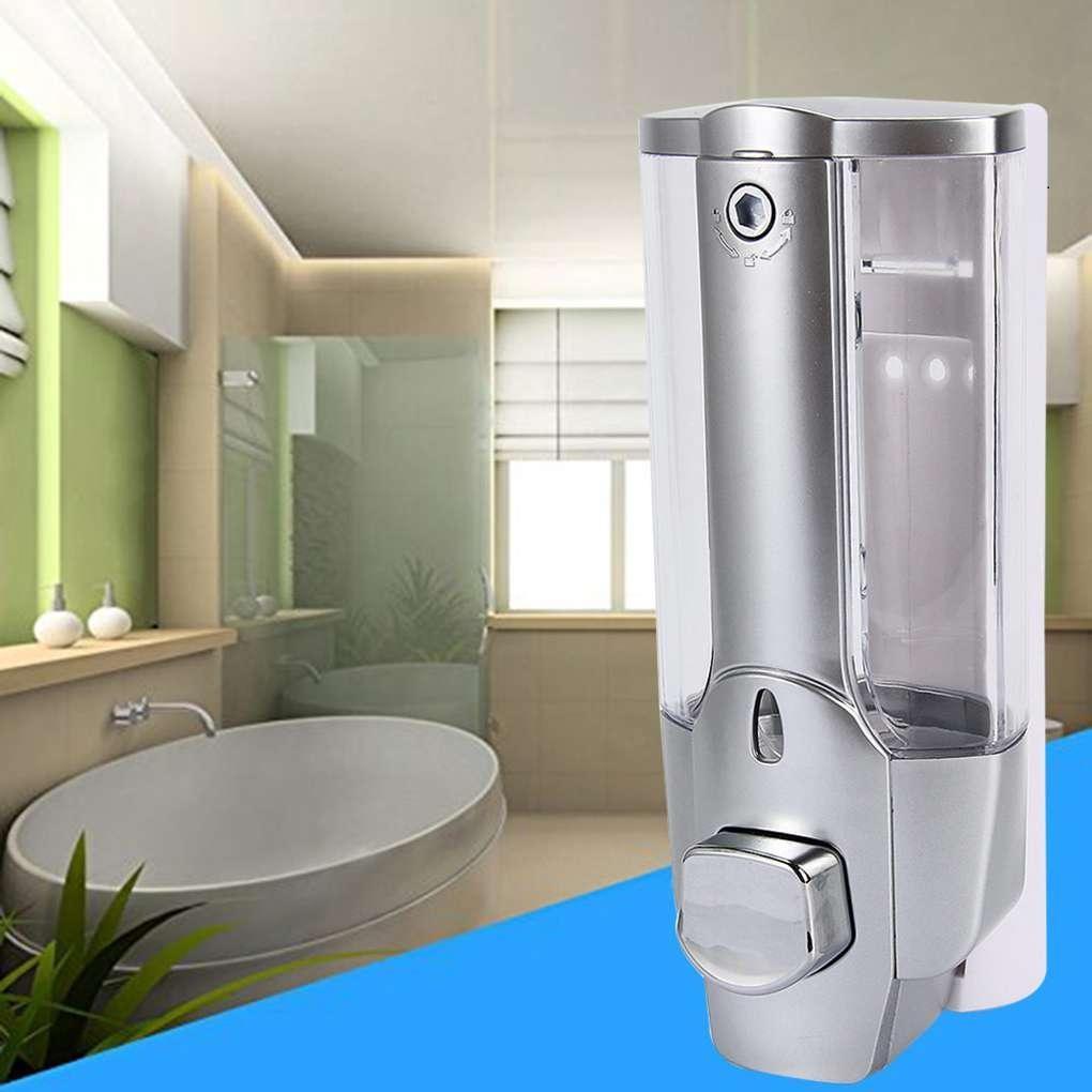 Kunststoff Bad Flüssige Hand Maschine Dusch-Shampoo Wand befestigter Shampoo Spender Handbetriebene Hotel Home Flüssigseifenspender T3I5852-6