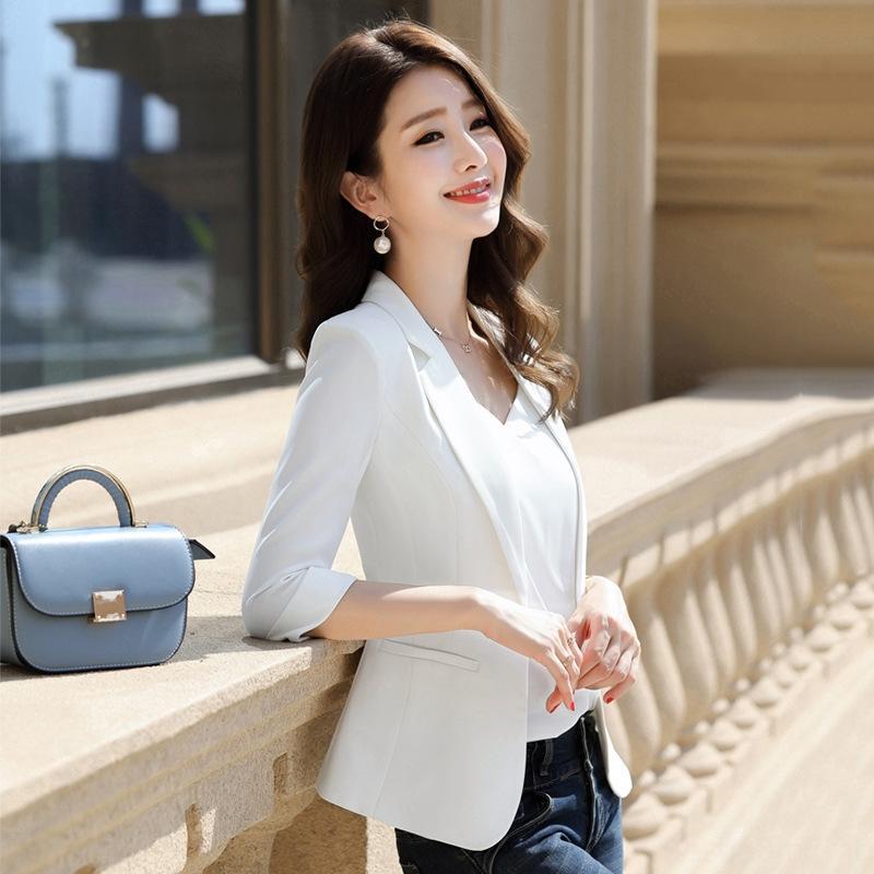 branco casaco curto casaco elegante TikTok ao vivo do 8xHLW Mulheres expressar pequena 2020 Primavera / Verão New
