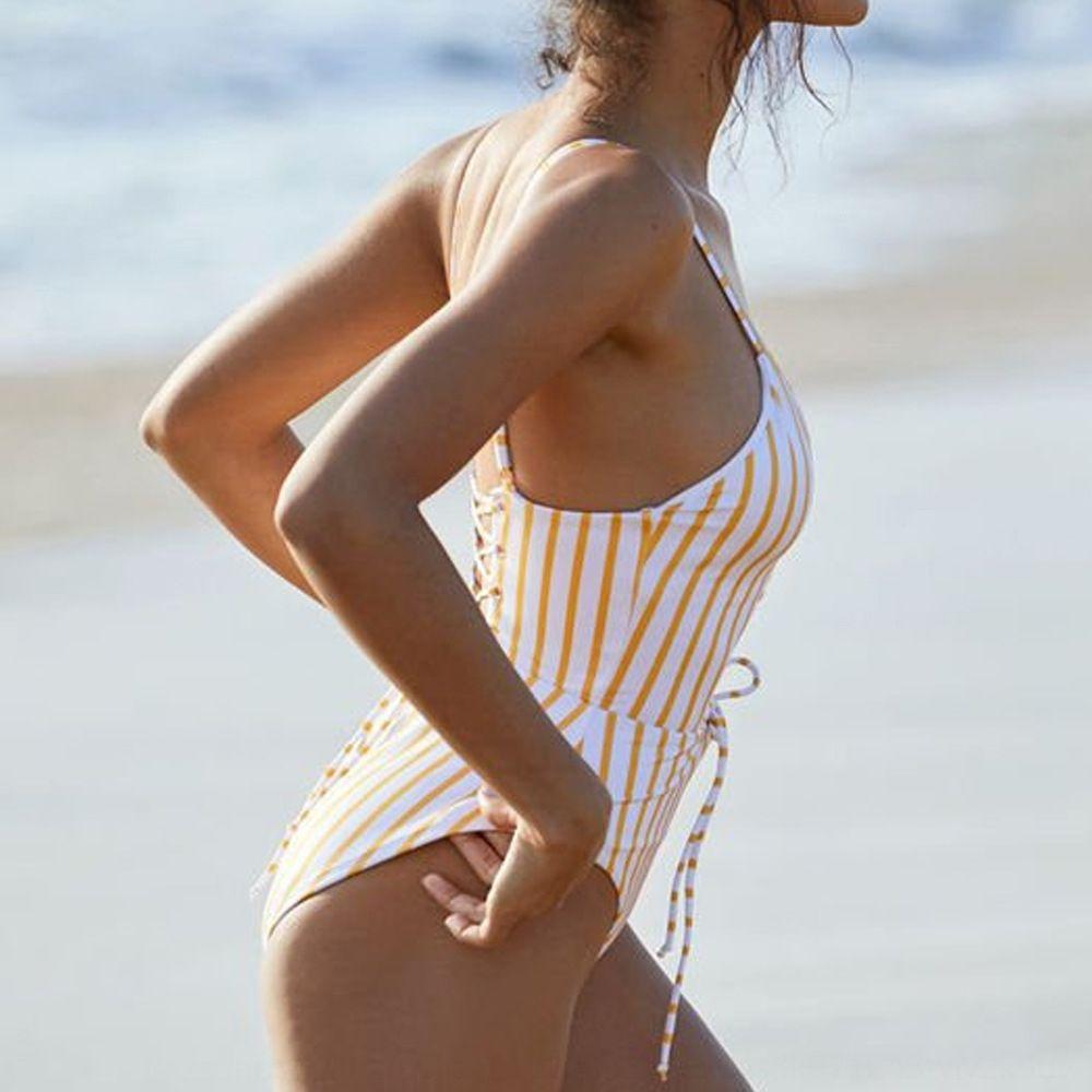 mOBpt gelb gestreiftes Dreieck sexy backless Spitzen-up einteiliger Frau gelb gestreiften Triangel-Bikini Bikini sexy backless Schnür-o-Badeanzug