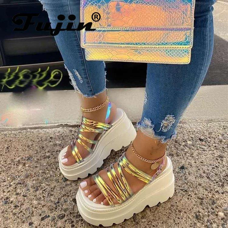 Fujin Plattform-Sandelholz-Flats Keilabsatz Weiß Slides Sandalen Sommer Whoes Sommerschuhe der Frauen Schuhe De Mujer