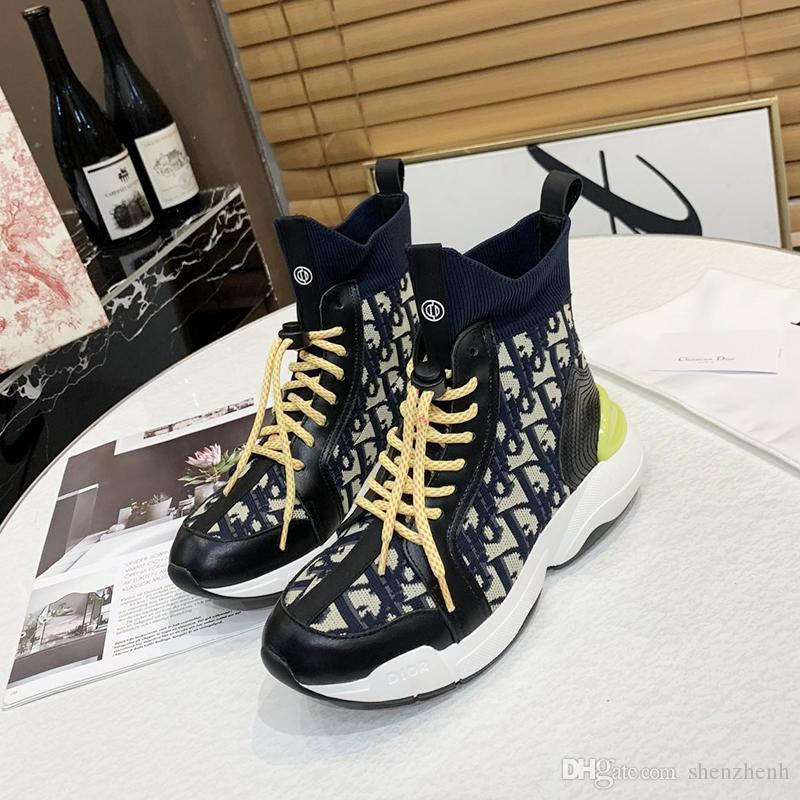Cómoda Hombres '; S Moda Zapatos zapatillas de deporte clásicas de peso ligero al aire libre Caminar Footwears alta tapa del cordón -Up Casual Botas Hombre Scarpe Da U