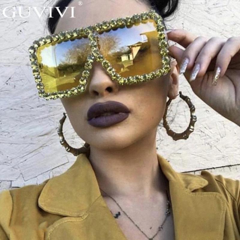 Крупногабаритные площади Алмазный Солнцезащитные очки Женщины Желтый Большой Frames очки Кристалл One Piece Женский Солнцезащитные очки Rhinestone очки Дети Су Vzgf #