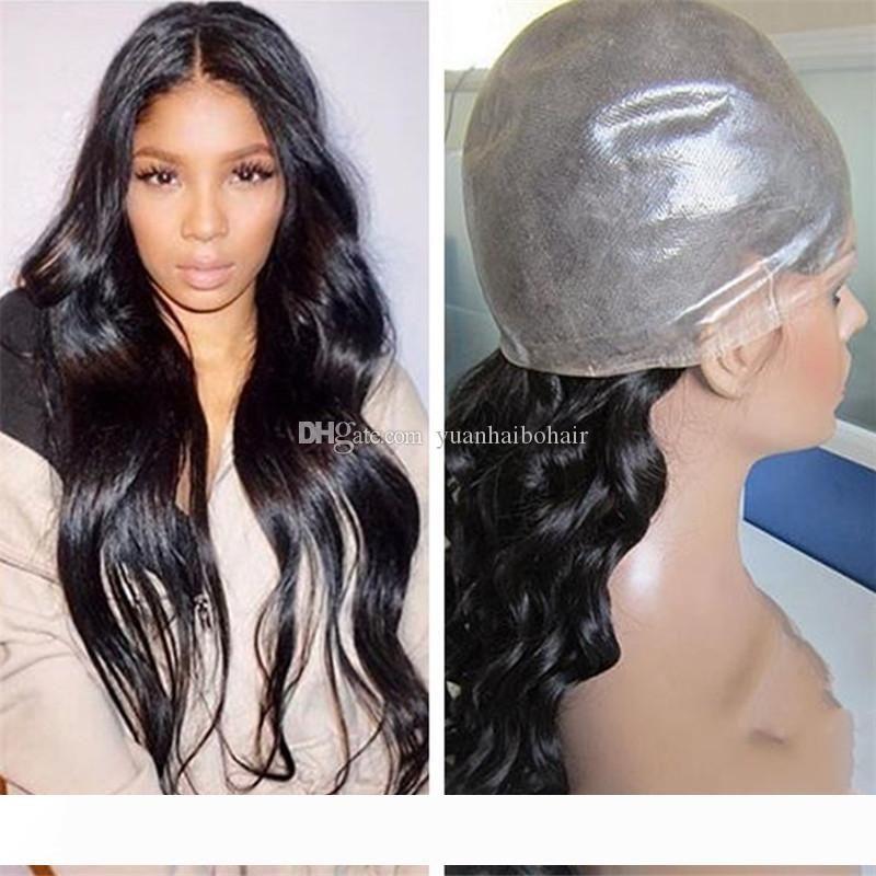 Hot Pu Perücken 1B Jungfrau-Menschenhaar brasilianisches Welliges Haar 24inch Volle dünner Haut-Perücke-freies Verschiffen