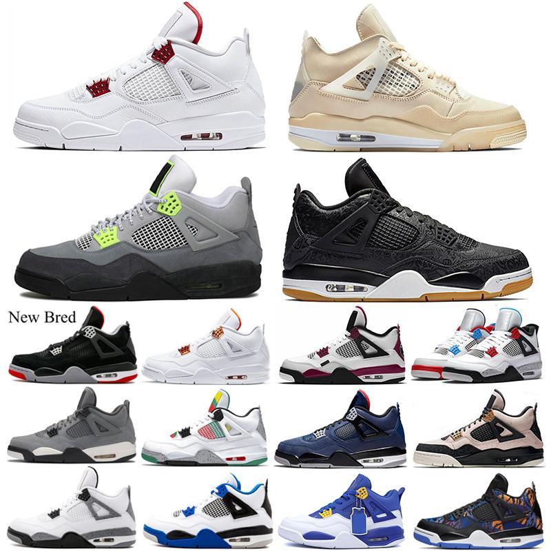 4 4s White Sail uomini scarpe da basket Bred Red Metallic ciò che il neon Pure denaro Cemento Motosports mens formatori dimensioni Sport Sneakers 7-13