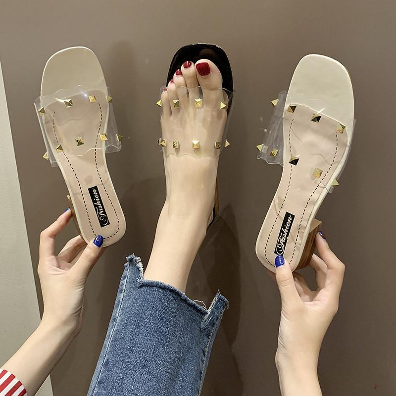 Mujeres de los deslizadores de las sandalias 2020 zapatos ocasional del verano vara los talones cuadrados al aire libre transparente bombas de los altos chanclas zapatillas Diapositivas