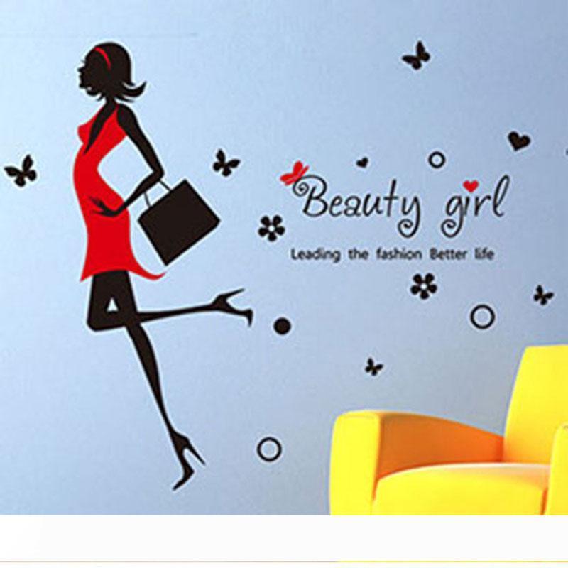 creativos de la moda de belleza moderna decoración del hogar chica caliente etiqueta de la pared mujeres bonitas muchacha de la ropa sala de decoración de tiendas
