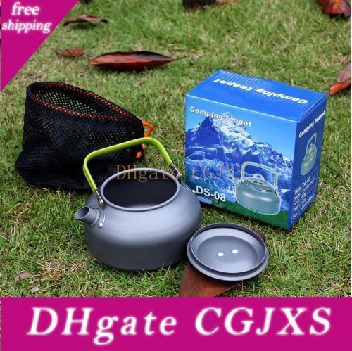 En alliage d'aluminium Ds -08 0 .8l Portable Outdoor Coffeepot Camping Voyage randonnée en plein air Teapot Camping cuisine Fournitures Cca6564 50pcs