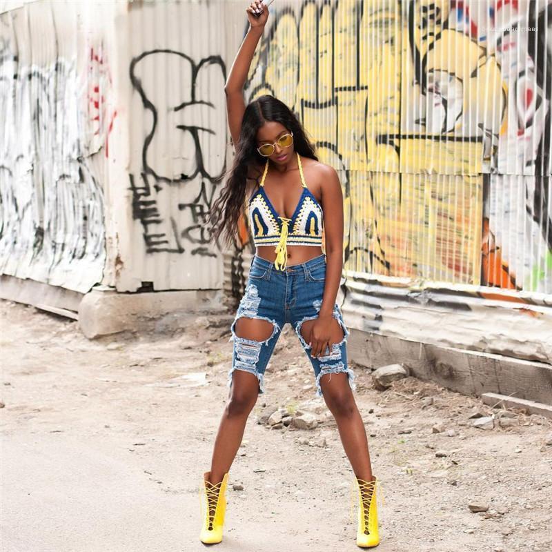 Compre Hole Con Paneles De Cintura Alta Jeans Casual De Colores Naturales De Longitud De La Rodilla De Los Pantalones Vaqueros Para Mujer Ropa Para Mujer Jeans Rotos Moda A 17 57