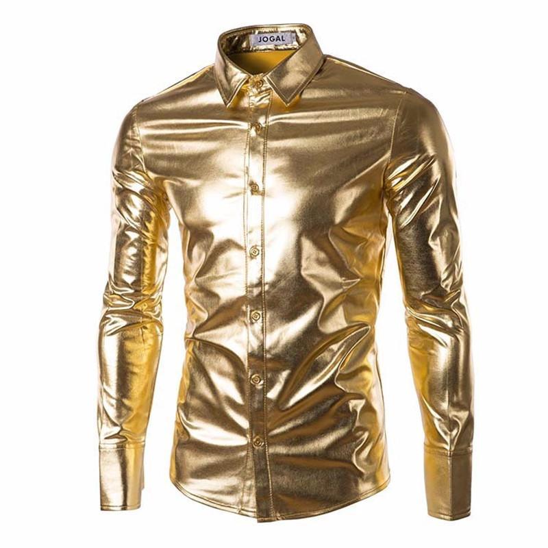 Los hombres de tendencia Night Club Coated actuaciones azul de la etapa oro metálico plateado brillante camisas de la manera vestido largo mangas de camisas para hombres