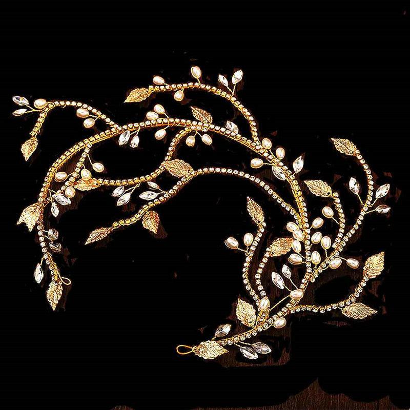 Дамы нежные Элегантные Лифы Оголовье Женщины Золото Цвет Мода Мода Гринги Bridal Свадебные Красоты Украшения Волос Аксессуары
