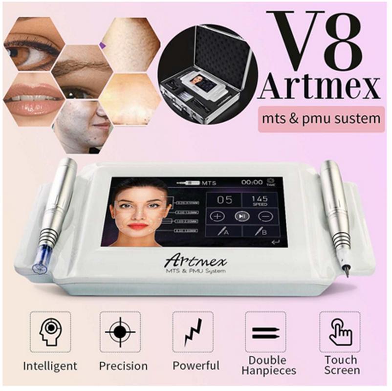 Professionnel 2 en 1 ArtMex V8 Maquillage permanent Machine de tatouage de tatouage de tatouage des yeux Lèvres Rotary stylo de microbladant MTS PMU Système