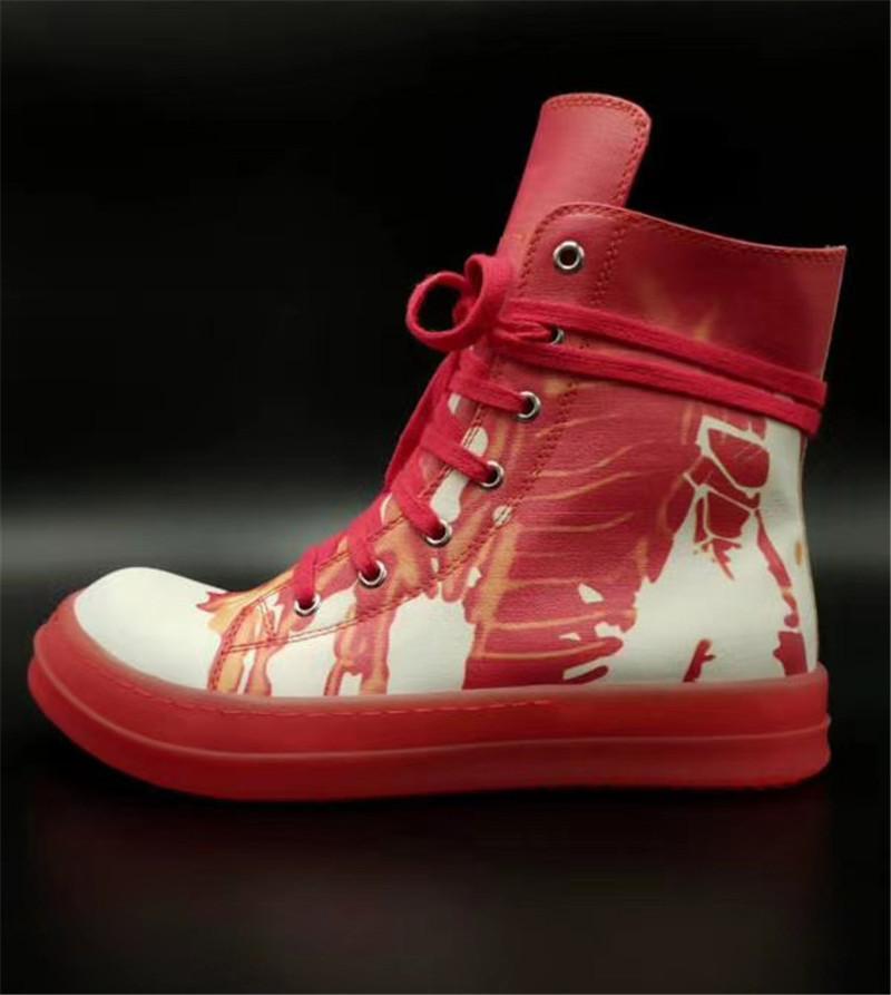 حذاء جديد الساخن بيع تنفس حذاء الكتابة على الجدران لون جلد الدانتيل يصل ارتفاع أعلى أحذية مصمم عارضة تشغيل الرجال والنساء