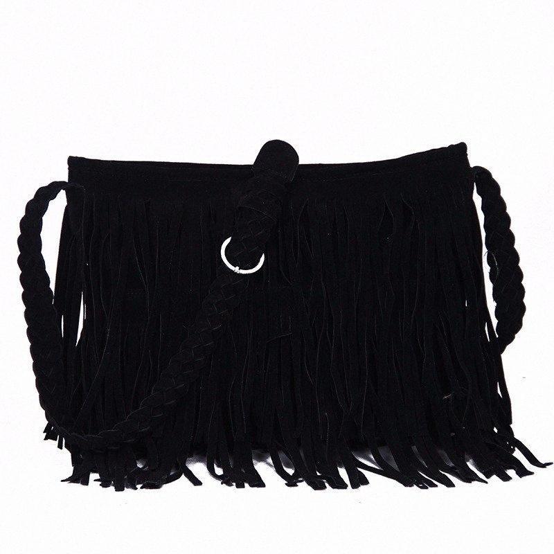 Cheap Fashion Tassel Messenger Bag Women Shoulder Bag Large Capacity Purses Vintage Handbag Ladies Crossbody GHnC#