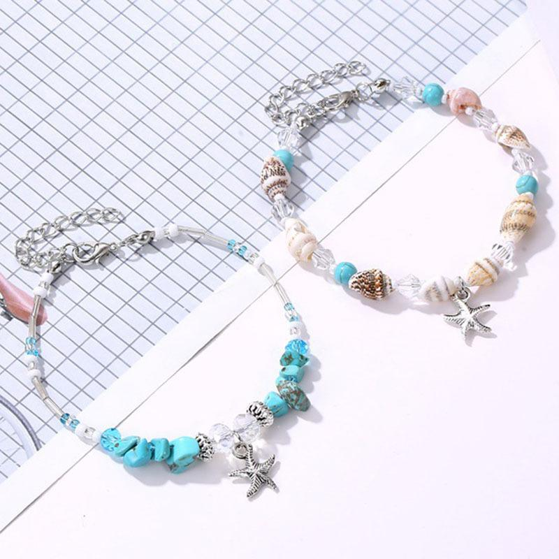 Fashion shell starfish turquoise conch beaded bracelet beach anklet jewelry