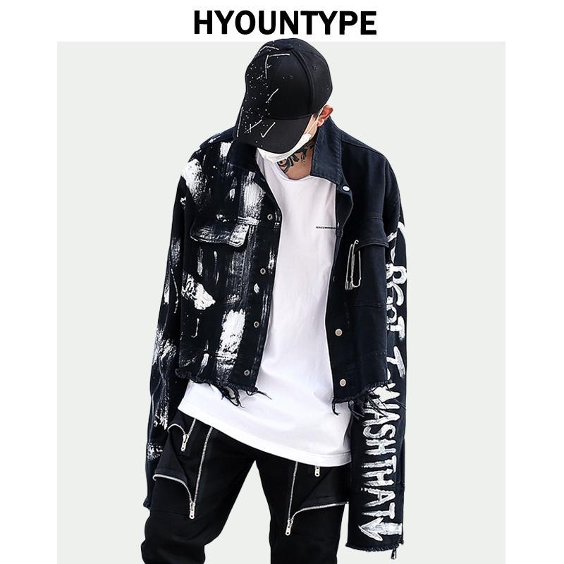 Diseñador irregular pintado a mano rasgado Escudo dril de algodón de la chaqueta para hombre de Hip Hop de vestir exteriores del otoño de manera negro Jean Streetwear chaquetas