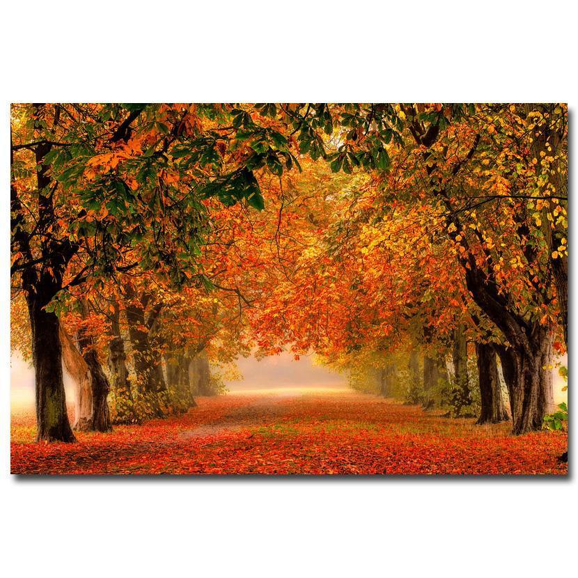 NICOLESHENTING Autumn Forest Path Red Fallen Leaves Art Silk Fabric Poster Print Landscape Wall Pictures Living Room Decor