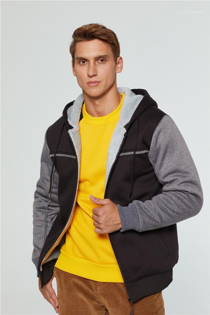Sleeved Kalın Fleece Kapşonlu Hırka Tişörtü Sonbahar Erkek Giyim Artı boyutu Mens Tasarımcısı Kapüşonlular Casual Kasetli Renk Uzun