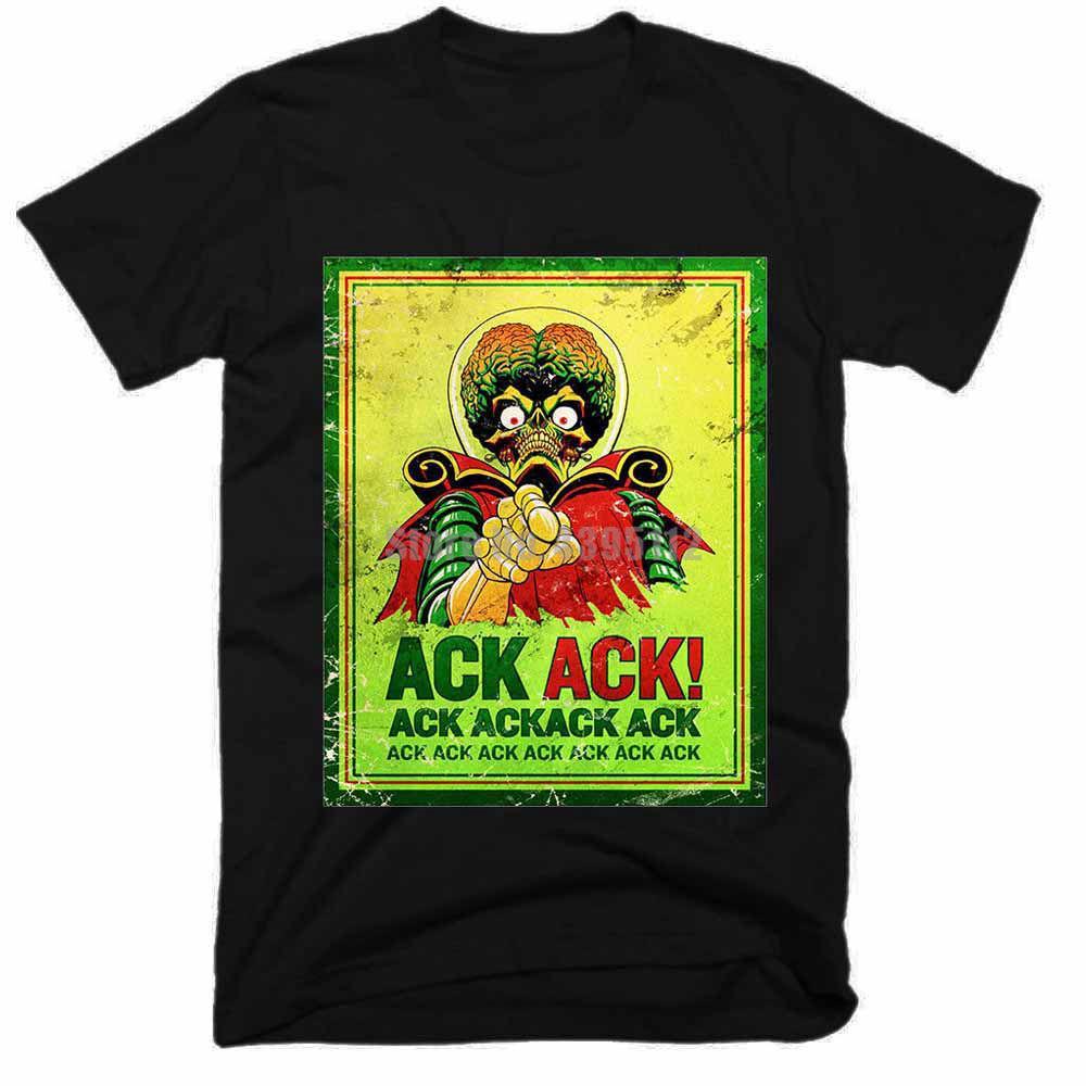 Marte Ataque Filme Homens engraçado camisetas Streetwear Moda T Shirt Homme Humor Camiseta T-shirt do crânio para homens