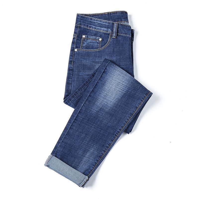 2018 Erkekler Jeans İş Casual İnce Yaz Düz Slim Fit Mavi Jeans Stretch Denim Pantolon Erkek Pantolon Klasik Kovboylar