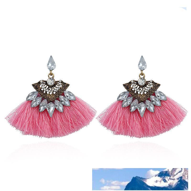 Orecchini di cristallo Wedding Party Dichiarazione Boemia Handmade della nappa orecchini per le donne annata frange Nuziale gioielli regalo