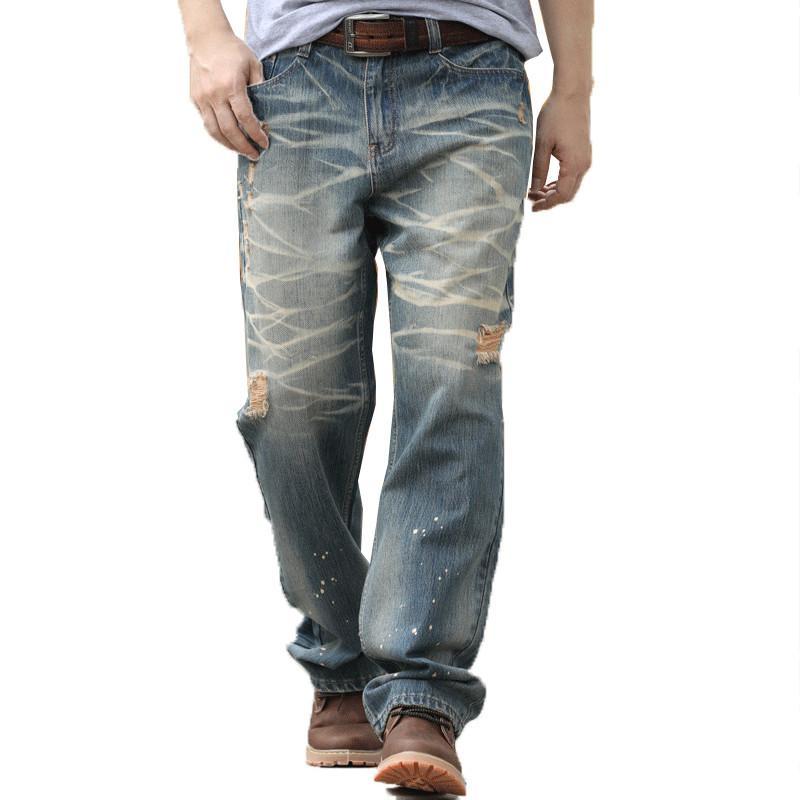 Мужские джинсы моды стиль бренда мужской мешковатый свободный плюс большой размер 28-44 мужчины бедра Длинные коньки Джин-харем брюки