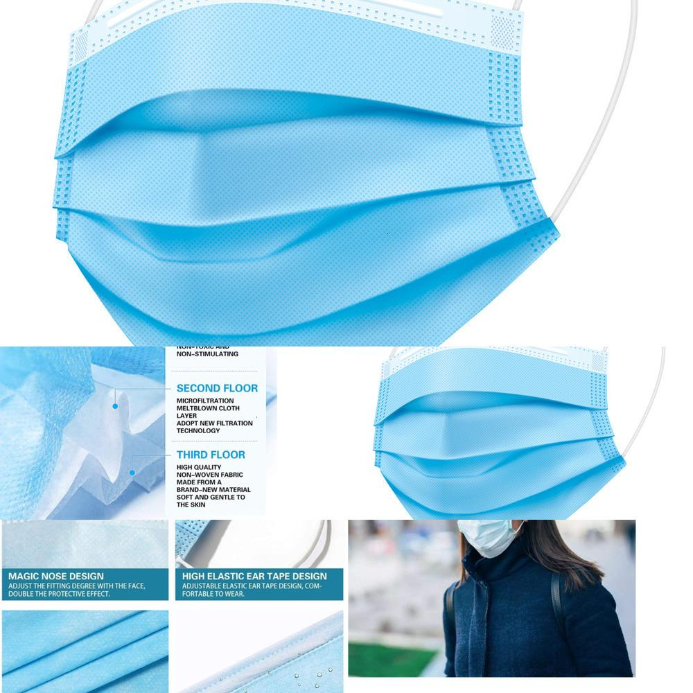 200шт Одноразовый Face Professional 3-слойный ушной полости рта маски, маски, дышащий Складные, Личное здоровье Ca DUJMK WR5W