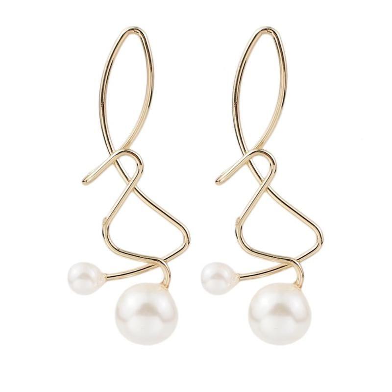 MANILAI Fashion Legierungs-Bolzen-Emaille-Charme-Imitate Perlen-Ohrringe für Frauen Wholesale Metall Geometrischer Schmuck