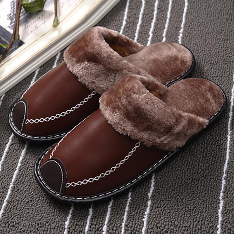 Женщины Трусы для зимней моды кожаной обуви внутри помещения плюс размер DB013