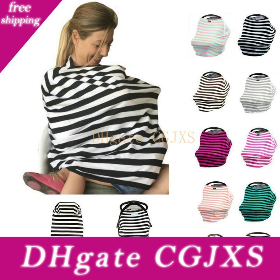 12 Colors Multi -Use Stretchy Cotton Baby Nursing Breastfeeding Privacy Cover Scarf Blanket Stripe Infinity Scarf Baby Car Seat Cover Nursin