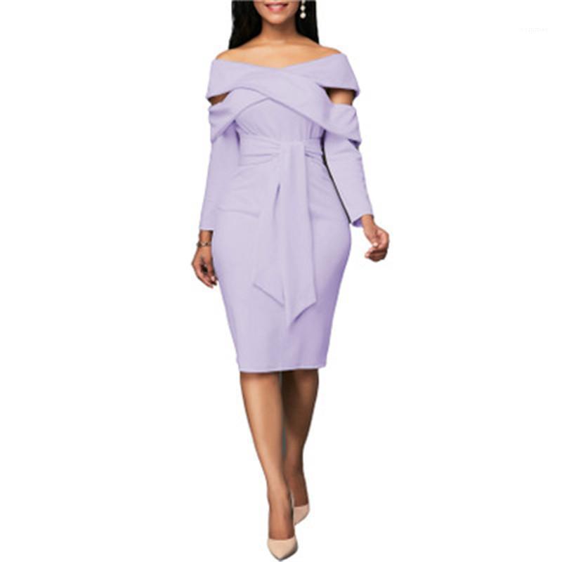 Slash Short Skirt collo Designer femminile manica lunga del partito del randello del vestito dalle signore sexy senza spalline Vestito aderente Fashion Trend di lunghezza del ginocchio