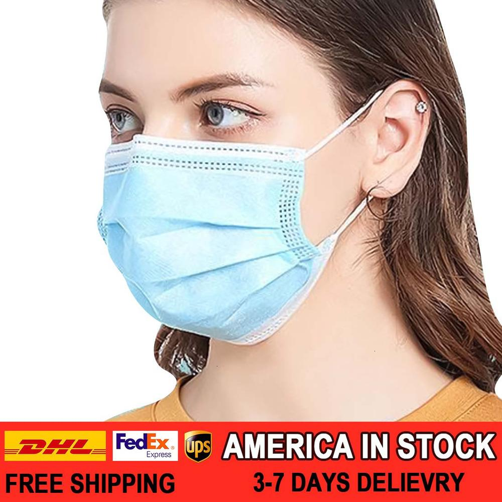 Earloop Disposable Thick 3-Ply Non-Woven Masks with Elastic Ear Loop, Breathable Face Mask for Dust Pollen HMIJ