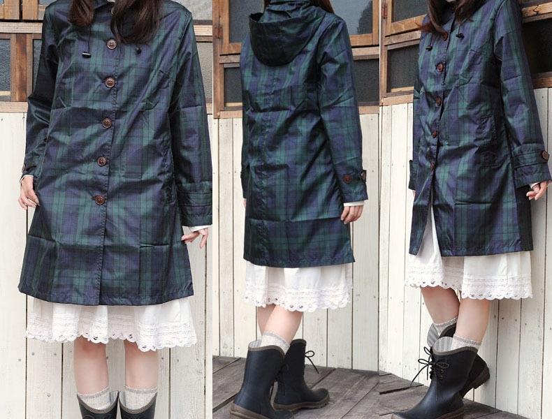 Mode grün karierter Regenmantel Mode grüne Kleidung Licht koreanische und japanische Regenmantel Reise tragbare wasserdichte Kleidung