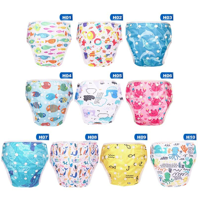 Baby Swim Nappy Diaper Cover Cartoon Print Wimwear Cloth Nappies Swimming Trunks Pool Pants Infant Toddler Kids Panties