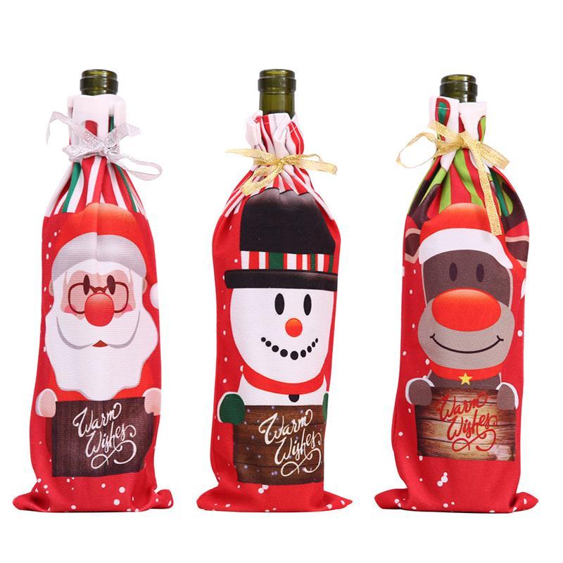 Weihnachten Weinflasche Abdeckung Taschen Weihnachten Rotwein Abdeckungen Sankt-Schneemann Elk Dinner Party Tischdekorationen JK2008XB
