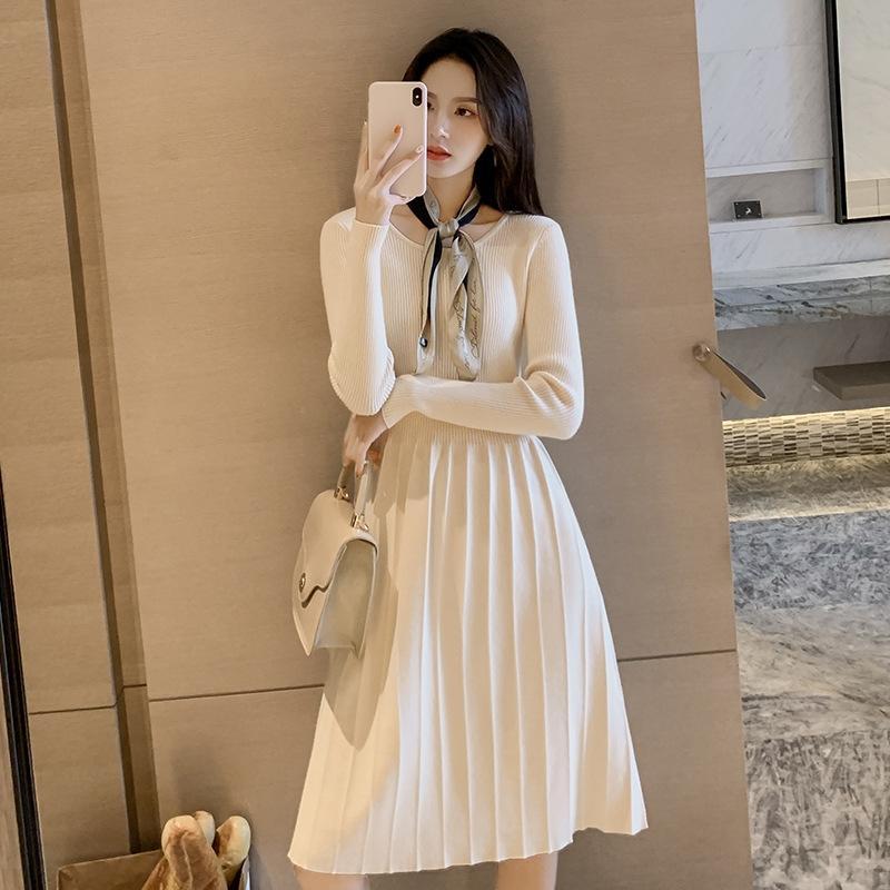 oKgGB Winter autumn and winter 2019 Women's women's new base skirt coat sweater dress with mid-length long sleeve knitted dress