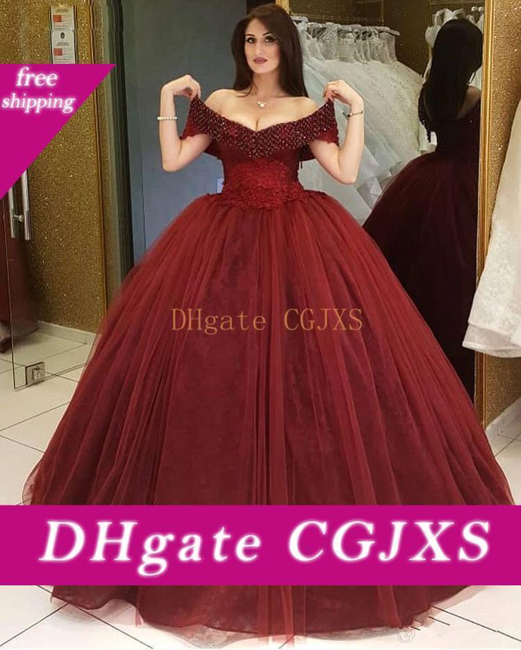 2019 Encolure dentelle perlée robe de bal Appliques Robes de bal Tulle longueur de plancher sur mesure Robes De Quinceanera Party Robes pas cher spéciale