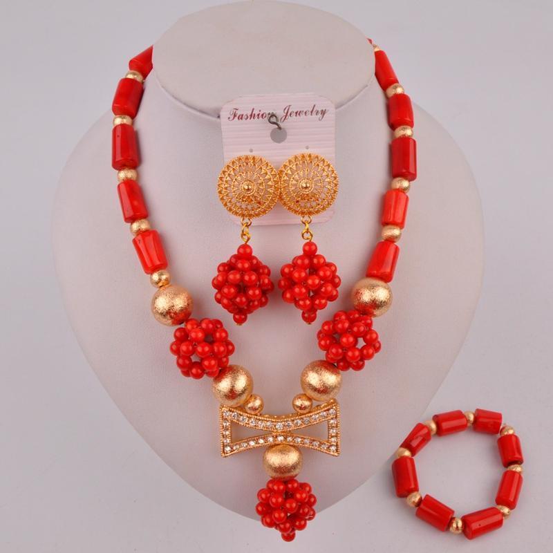 rosso corallo perle africane di nozze nigeriano gioielli collana di corallo set 20C50